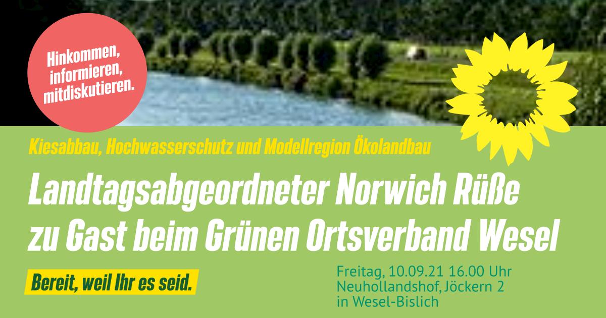 Landtagsabgeordneter Norwich Rüße zu Gast bei Veranstaltung zum Thema Kiesabbau, Hochwasserschutz und Modellregion Ökolandbau